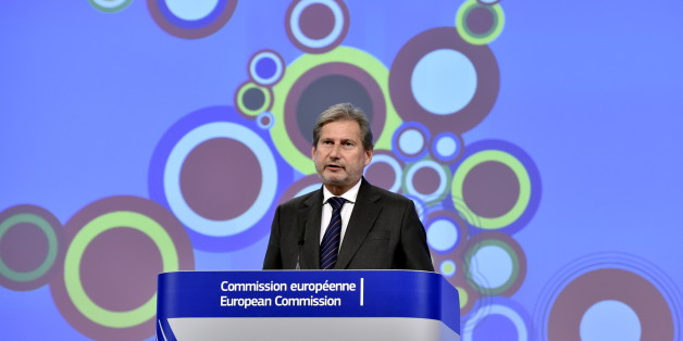 European Neighbourhood Policy and Enlargement Negotiations Commissioner Johannes Hahn gestures during a news conference at the European Commission headquarters in Brussels, Belgium, November 10, 2015. The European Commission presented its 2015 Enlargement Package, covering the Western Balkans and Turkey. REUTERS/Eric Vidal