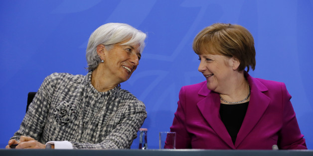 (GERMANY OUT) Christine Lagarde, Head of the International Monetary Fund (IMF), German Chancellor Angela Merkel. After a meeting of the Presidents of the international economic and financial organizations with German Chancellor Angela Merkel on March 11, 2015 at the Federal Chancellery in Berlin this while praising the efforts of 'many' euro-countries, productivity and employment to increase and improve the fiscal position. However, further efforts are necessary - as in the fight against youth unemployment, structural reforms and the 'growth-friendly' consolidation. (Photo by A.v.Stocki/ullstein bild via Getty Images)