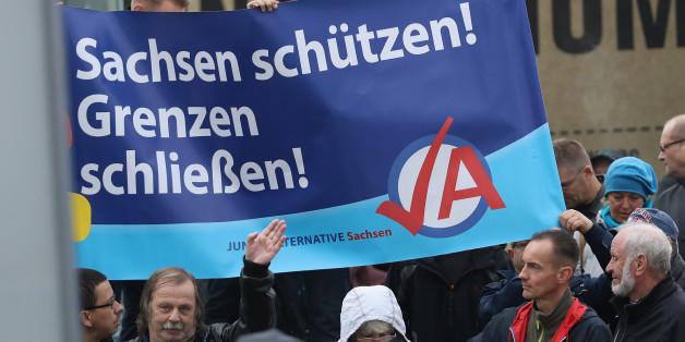 Archivbild: Demonstranten halten in Dresden ein Wahlplakat der AfD