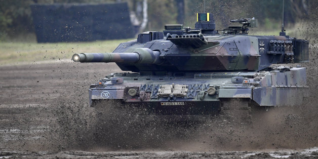 BERGEN, GERMANY - OCTOBER 14: The Leopard 2A7 main battle tank of the German Armed Forces participates in the 'Land Operations' military exercises during a media day at the Bundeswehr training grounds on October 14, 2016 near Bergen, Germany. The exercises are taking place from October 4-14. Nations across Europe having been strengthening their joint military capabilities and cooperation in recent years as a response to growing Russian military assertion that has included intervention in Ukraine and military flights into European airspace as well as the recent stationing of Iskander nuclear-capable missiles in Kaliningrad. (Photo by Alexander Koerner/Getty Images)