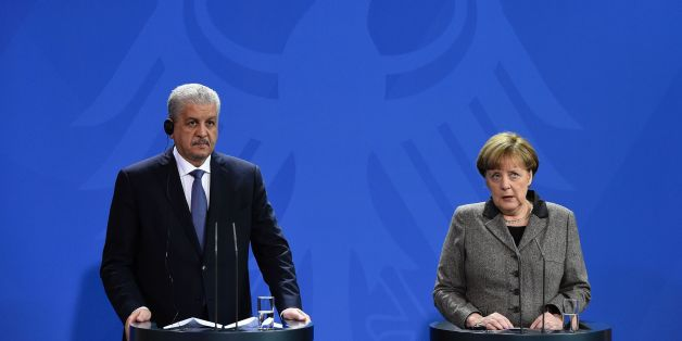 German Chancellor Angela Merkel and Algerian Prime Minister Abdelmalek Sellal give a news conference following talks in Berlin on January 12, 2016. / AFP / TOBIAS SCHWARZ        (Photo credit should read TOBIAS SCHWARZ/AFP/Getty Images)