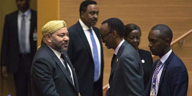 King of Morocco Mohammed VI (L) greets Rwanda's President Paul Kagame in the main plenary of the African Union in Addis Ababa on Jan 31, 2017. Morocco's King Mohammed VI took a seat at the African Union headquarters Tuesday for the first time in 33 years after being re-admitted by the bloc. Morocco's return to the fold comes a day after 39 of the AU's 54 member states agreed to allow Morocco back in the fold, despite stiff resistance from countries such as South Africa and Algeria over the statu