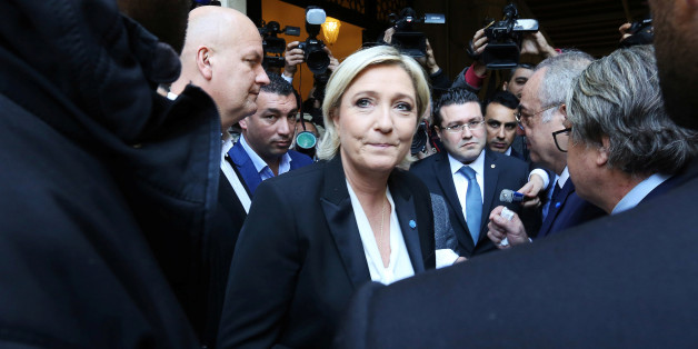 Marine Le Pen, French National Front (FN) political party leader and candidate for French 2017 presidential election, leaves after refusing a headscarf for her meeting Lebanon's Grand Mufti Sheikh Abdul Latif Derian, in Beirut, Lebanon February 21, 2017. REUTERS/Aziz Taher
