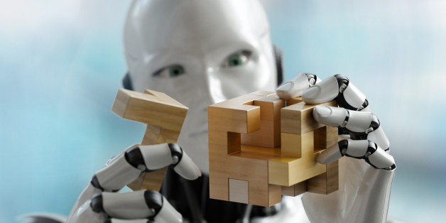3D render os a humanoid robot trying to solve a 3D wooden puzzle. Rendered with depth of field.