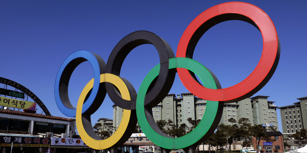 GANGNEUNG, SOUTH KOREA - FEBRUARY 8:  The Olympic rings is seen in Gangneung town, near the venue for the Speed Skating, Figure Skating and Ice Hockey ahead of PyeongChang 2018 Winter Olympic Games on February 8, 2017 in Gangneung, South Korea.  (Photo by Chung Sung-Jun/Getty Images)