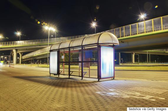 dark bus stop