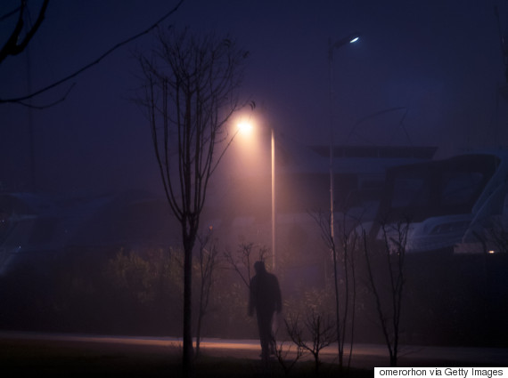 dark street winter walk