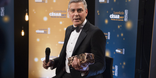 PARIS, FRANCE - FEBRUARY 24:  Actor George Clooney speaks to the press during the Cesar Film Awards 2017 at Salle Pleyel on February 24, 2017 in Paris, France.  (Photo by Francois Durand/Getty Images)