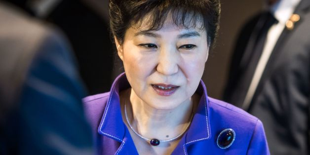 South Korean President Park Geun-Hye looks on during the France-Korean business partnership meeting in Paris on June 2, 2016, as part of her three-day visit. / AFP / POOL / Christophe Petit Tesson        (Photo credit should read CHRISTOPHE PETIT TESSON/AFP/Getty Images)
