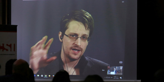 Edward Snowden speaks via video link during a conference at University of Buenos Aires Law School, Argentina, November 14, 2016. REUTERS/Marcos Brindicci