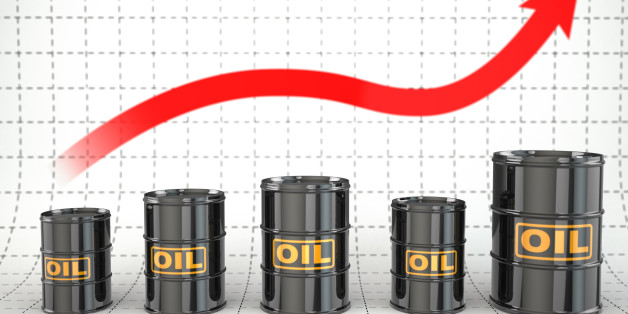 Growth of oil price. Barrels and graph. 3d