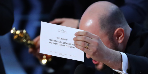 "89th Academy Awards - Oscars Awards Show - Hollywood, California, U.S. - 26/02/17 - Producer Jordan Horowitz holds up the card for the Best Picture winner ""Moonlight."" REUTERS/Lucy Nicholson"