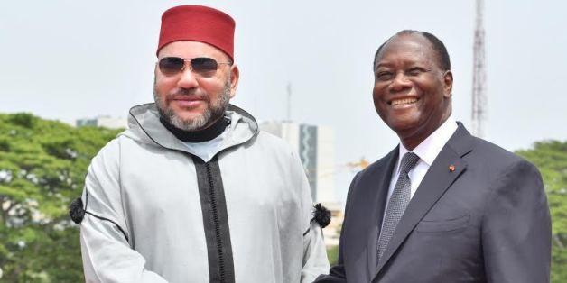 Le roi Mohammed VI et le président ivoirien Alassane Ouattara, lors du dernier voyage du souverain en Côté d'Ivoire, en février 2017.