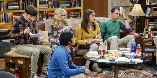 LOS ANGELES - NOVEMBER 1: 'The Geology Elevation' -- Pictured: Howard Wolowitz (Simon Helberg), Bernadette (Melissa Rauch), Rajesh Koothrappali (Kunal Nayyar), Amy Farrah Fowler (Mayim Bialik) and Sheldon Cooper (Jim Parsons). When Bert (Brian Posehn), a Caltech geologist, wins the MacArthur Genius fellowship, Sheldon is overcome with jealousy. Also, Wolowitz finds an old remote control Stephen Hawking action figure he invented, on THE BIG BANG THEORY, Thursday, Nov. 17 (8:00-8:31 PM, ET/PT), on