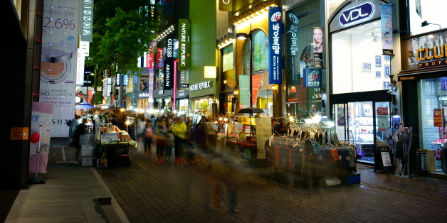 Myeongdong shopping street at night in Seoul. Seoul, South Korea, 2015.
