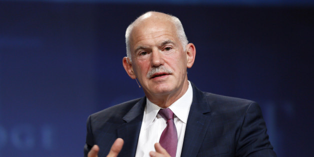 George Papandreou, former Greek prime minister, speaks at a panel discussion at the SALT conference in Las Vegas May 14, 2014. SALT is produced by SkyBridge Capital, a global investment firm. REUTERS/Rick Wilking (UNITED STATES - Tags: BUSINESS POLITICS)