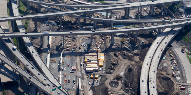 Aerial view over Canada's largest road work project