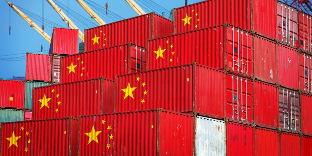 Chinese cargo containers in the port