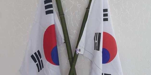 박사모 카페에 올라온 태극기 죽창 사진. 현재 이 글과 사진은 삭제된 상태다.