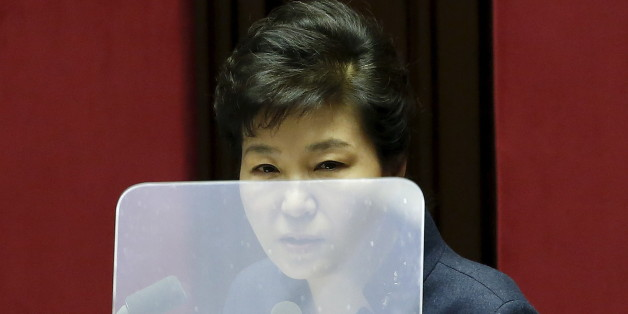 South Korean President Park Geun-hye delivers her speech during a plenary session at the National Assembly in Seoul, South Korea, February 16, 2016.  REUTERS/Kim Hong-Ji      TPX IMAGES OF THE DAY
