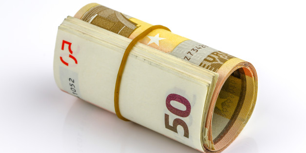 Roll of one Fifty euro banknotes with a rubber band, isolated on the white background, clipping path included. Full focus.