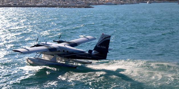Split, Croatia - July 29, 2016: Hydroplane taking off in Split, Croatia. Split is popular coastal touristic destination during summer.