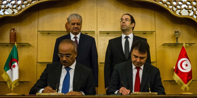 TUNIS, TUNISIA - MARCH 9: Algerian Prime Minister Abdelmalek Sellal (rear L) and Tunisian Prime Minister Youssef Chahed (rear R) attend the signing ceremony of the collaboration between Algeria and Tunisia at the Carthage Palace in Tunis, Tunisia on March 9, 2017. (Photo by Amine Landoulsi/Anadolu Agency/Getty Images)