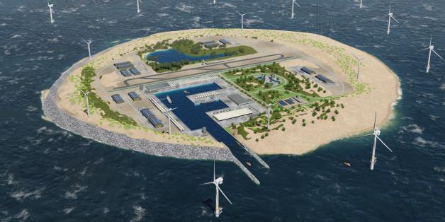 So soll die Energie-Insel in der Nordsee aussehen