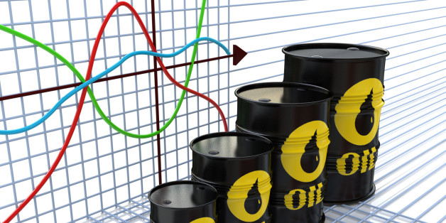 One row of oil barrels and a financial chart on background (3d render) in the design of the information related to the economy