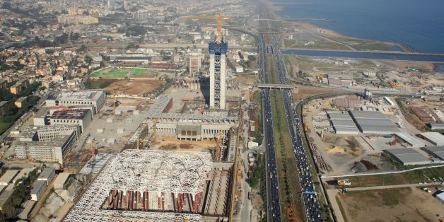 An aerial view taken on April 26, 2016, from a police helicopter above Algiers shows the construction site of the third largest mosque in the area and the largest in Africa.Algeria is building one of the world's largest mosques which officials say will serve as a buffer against radical Islam and crown the legacy of President Abdelaziz Bouteflika. The Djamaa El Djazair mosque is being built facing the picturesque bay of Algiers as part of a complex that will include a one-million book library, a
