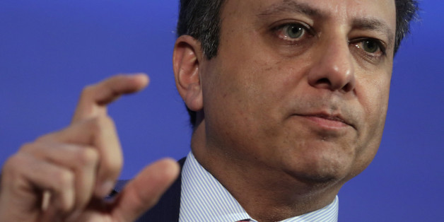 US Attorney Southern District of New York Preet Bharara speaks at the Wall Street Journal CEO council annual meeting in Washington on November 15, 2016. / AFP / YURI GRIPAS        (Photo credit should read YURI GRIPAS/AFP/Getty Images)
