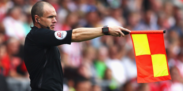 SOUTHAMPTON, ENGLAND - AUGUST 27:  A assissant referee holds up the offside flag during the Premier League match between Southampton and Sunderland at St Mary's Stadium on August 27, 2016 in Southampton, England.  (Photo by Michael Steele/Getty Images)