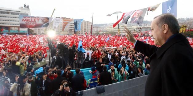 Der türkische Präsident Recep Tayyip Erdogan bei eine rWahlkampfveranstaltung