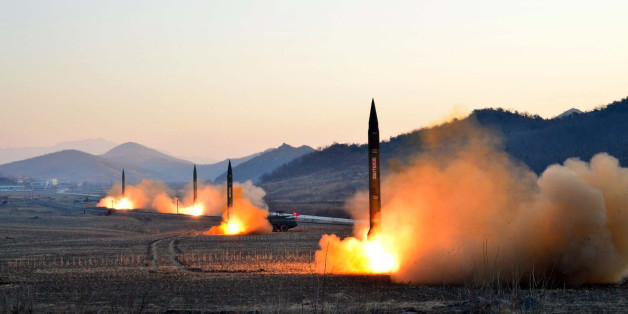 TOPSHOT - This undated picture released by North Korea's Korean Central News Agency (KCNA) via KNS on March 7, 2017 shows the launch of four ballistic missiles by the Korean People's Army (KPA) during a military drill at an undisclosed location in North Korea.Nuclear-armed North Korea launched four ballistic missiles on March 6 in another challenge to President Donald Trump, with three landing provocatively close to America's ally Japan. / AFP PHOTO / KCNA VIA KNS / STR / South Korea OUT / REPUB