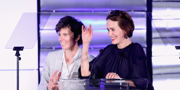 BEVERLY HILLS, CA - MARCH 11:  Actress Sarah Paulson (L) and comedian Tig Notaro onstage at the Family Equality Council's Impact Awards at the Beverly Wilshire Hotel on March 11, 2017 in Beverly Hills, California.  (Photo by Rich Polk/Getty Images for Family Equality Council )