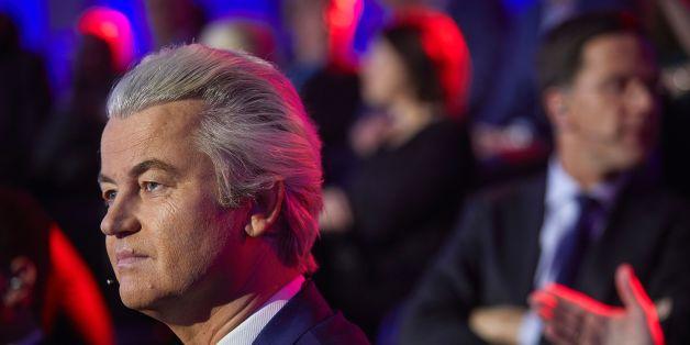 Der niederländische Rechtspopulist Geert Wilders während der gestrigen Fernsehdebatte