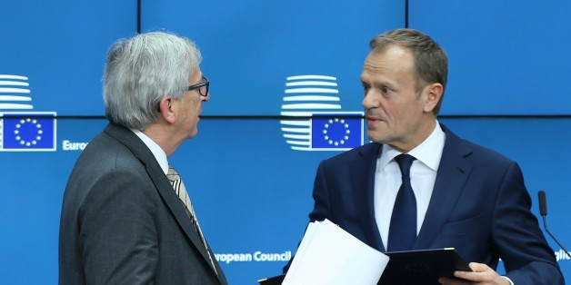 BRUSSELS, BELGIUM - MARCH 09: European Commission President Jean-Claude Juncker (L) and EU Council President Donald Tusk (R) hold a press conference as part of the European Union Leaders Summit in Brussels, Belgium on March 9, 2017. (Photo by Dursun Aydemir/Anadolu Agency/Getty Images)