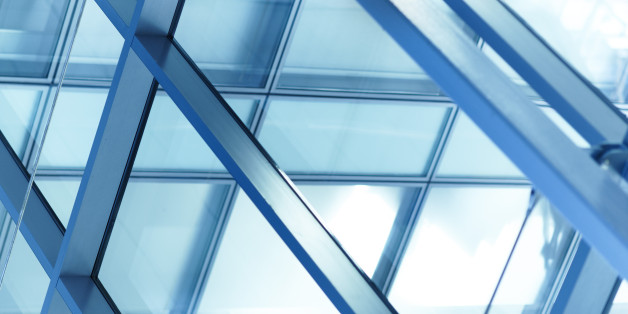Glass facade architecture in a modern office building
