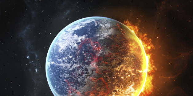 Firy earth between the blue day and the burning red night.