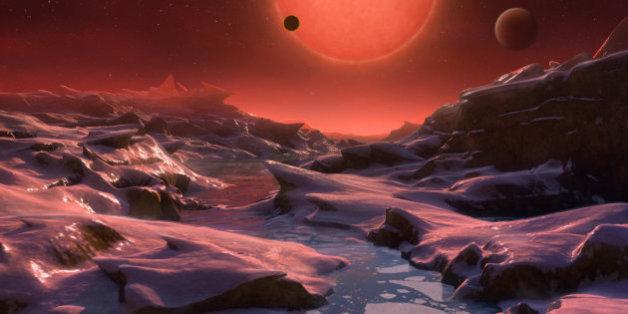 Vue d'artiste d'une des exoplanètes autour de l'étoile Trappist 1.