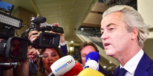 PVV leader Geert Wilders speaks to the press on election night in The Hague, on March 15, 2017. The Liberal party of Dutch Prime Minister Mark Rutte was set to win the most seats in Wednesday's elections, forcing far-right Geert Wilders into second place along with two other parties,  the Christian Democratic Appeal and the Democracy party D66, exit polls predicted. / AFP PHOTO / ANP / Robin Utrecht / Netherlands OUT - Belgium OUT        (Photo credit should read ROBIN UTRECHT/AFP/Getty Images)