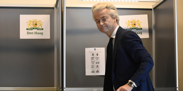 Dutch far-right politician Geert Wilders of the PVV party votes in the general election in The Hague, Netherlands, March 15, 2017.     REUTERS/Dylan Martinez