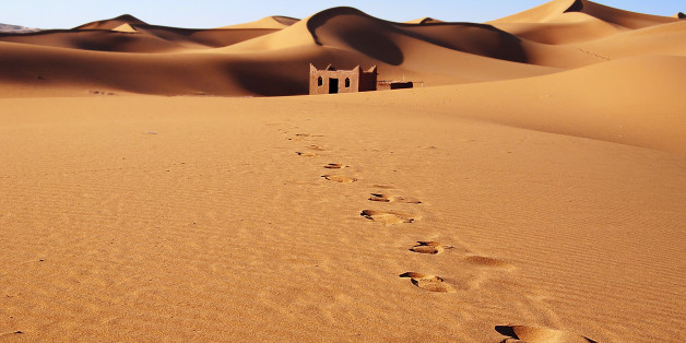Erg Chebbi sandydunes of Sahara Desert at the evening, Morocco.