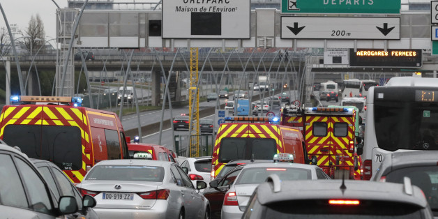 Emergency vehicles arrive Orly airport southern terminal in Paris, France March 18, 2017.  REUTERS/Christian Hartmann