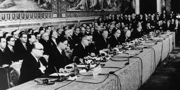 Delegates at the signing of the European Common Market Treaty in Rome.    (Photo by Keystone/Getty Images)