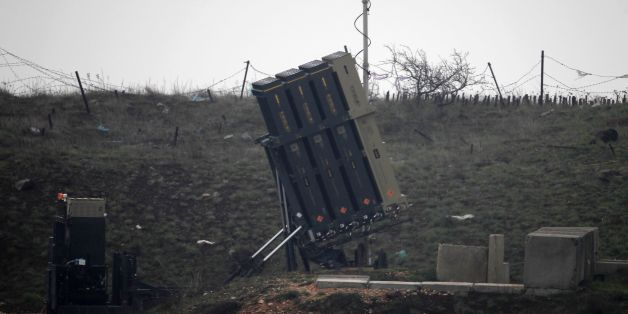 A general view taken on March 17, 2017 shows Israel's Iron Dome defence system, designed to intercept and destroy incoming short-range rockets and artillery shells, deployed in the Israeli-occupied Golan Heights near the Israel-Syria border on March 17, 2017.Israeli warplanes struck several targets in Syria, prompting retaliatory missiles launches, in the most serious incident between the two countries since the Syrian civil war began six years ago. / AFP PHOTO / JALAA MAREY        (Photo credit