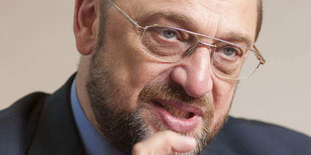 Brussels, Belgium, January 11; 2012...Chair of the Group of the Progressive Alliance of Socialists and Democrats (S&D) in the European Parliament, candidate for the president of the European Parliament Martin SCHULZ answers questions during an interview in his office. (Photo by Thierry Tronnel/Corbis via Getty Images)