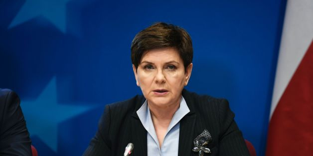Polish Prime Minister Beata Szydlo holds a press conference on the second day of a European Union Summit at the EU headquarters in Brussels on March 10, 2017.