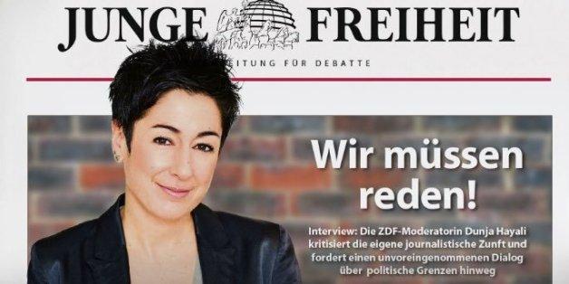 """ZDF Journalistin Dunja Hayali auf der Titelseiten der rechten Wochenzeitung """"Junge Freiheit"""""""