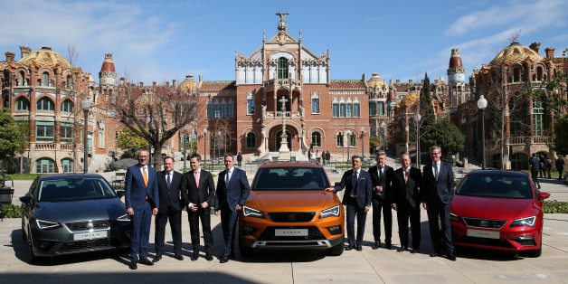 SEAT's President and CEO Luca de Meo (C) and board members pose during the presentation of the 2016 results during a news conference in Barcelona, Spain March 23, 2017. REUTERS/ Albert Gea